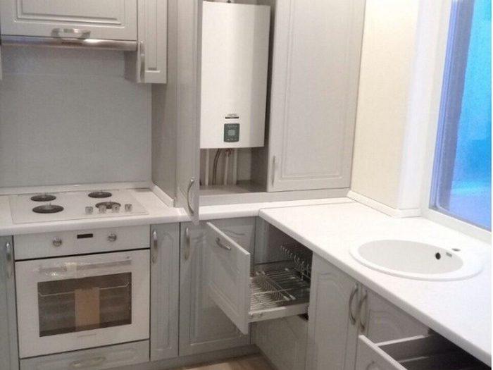 Как спрятать газовый котел на кухне - 35 фото вариантов